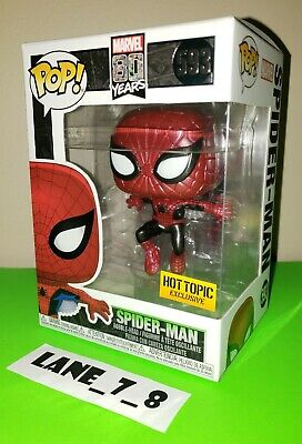 Funko Pop! Marvel 80 Years Spider-Man Metallic Hot Topic Exclusive # 593 New