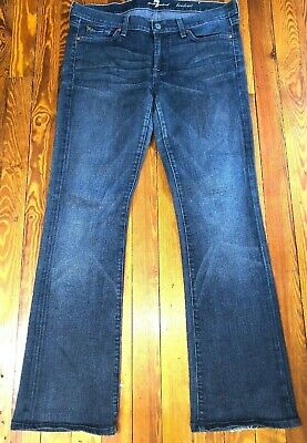 Kind Measures - 7 For All Man Kind Bootcut jeans size 31 in. Blue Stonewashed Waist Measures 36