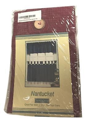 Nantucket 30 x 36 Burgundy Wine Red Tab Top Tier Set NEW IN PACKAGE