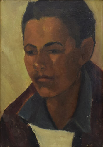 "Attributed to Joseph Fleck - Taos Boy - Oil on Panel - 14"" x 10"" c. 1950s"