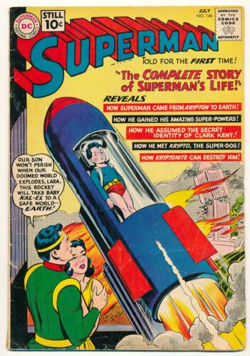 DC Comics Superman #146 Comic Book 2.5 GD+ 1961 Complete Origin Life Story!