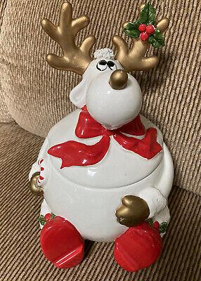 Vintage 1986 Omnibus Fitz And Floyd Ceramic Reindeer Christmas Cookie Jar