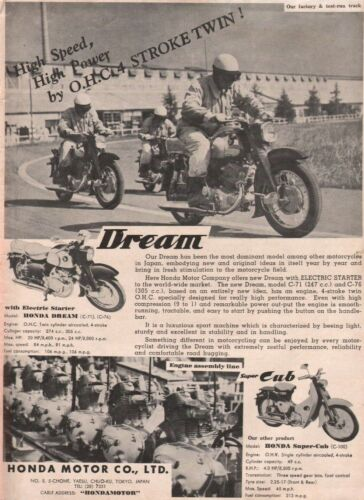 1959 Honda Dream & Super-Cub - Vintage Motorcycle Ad