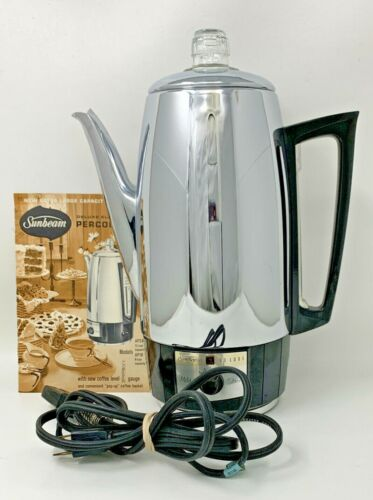 Sunbeam Deluxe 12 Cup Percolator Model AP-24 TESTED WORKS GREAT 21-390