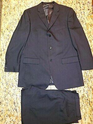 Lineage Mens Suit 3 Button 44R Black Stripe Pants 38 x 32 3 Button Black Mens Suit