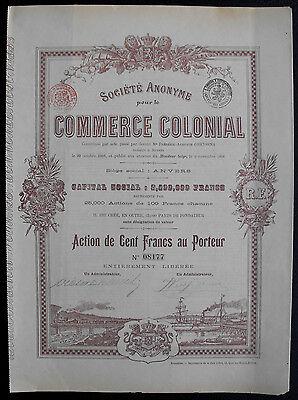 Belgien Commerce Colonial Aktie 1898 dekorativ Eisenbahn Schiffe Kolonie