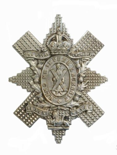 The Royal Highlanders Black Watch Cap Badge White Metal