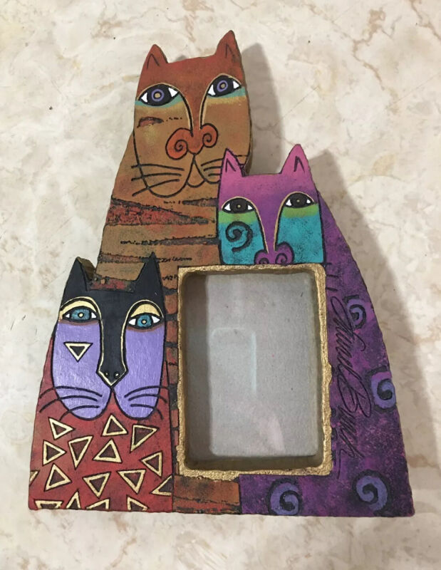 Laurel Burch Mysticats Cat Trio Tabletop Or Hanging Resin Picture Frame