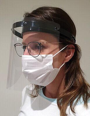 Schutzvisier Gesichtsschutzschild stufenlos klappbar Ärzte Brillenträger - Black