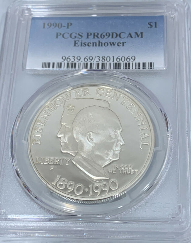 1990-P Eisenhower Silver Commemorative Dollar PCGS PR69DCAM 38016069