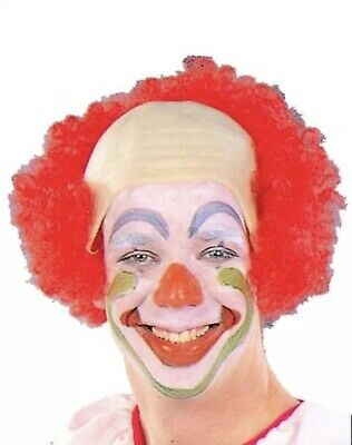 RED BOW HEAD CLOWN  BALD CAP WITH HAIR CIRCUS EVIL CLOWN COSTUME WIG ADULT