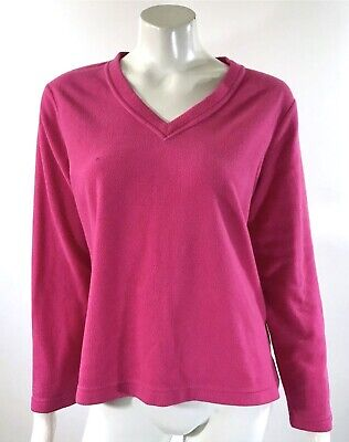 Charter Club Intimates Fleece Sweater Medium Pink V Neck Long Sleeve Pullover - Fleece V-neck Sweater