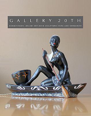 AMAZING! FRENCH BLACK WOMAN IN BOAT SCULPTURE & LAMP! ART DECO BARSONY 30'S VTG
