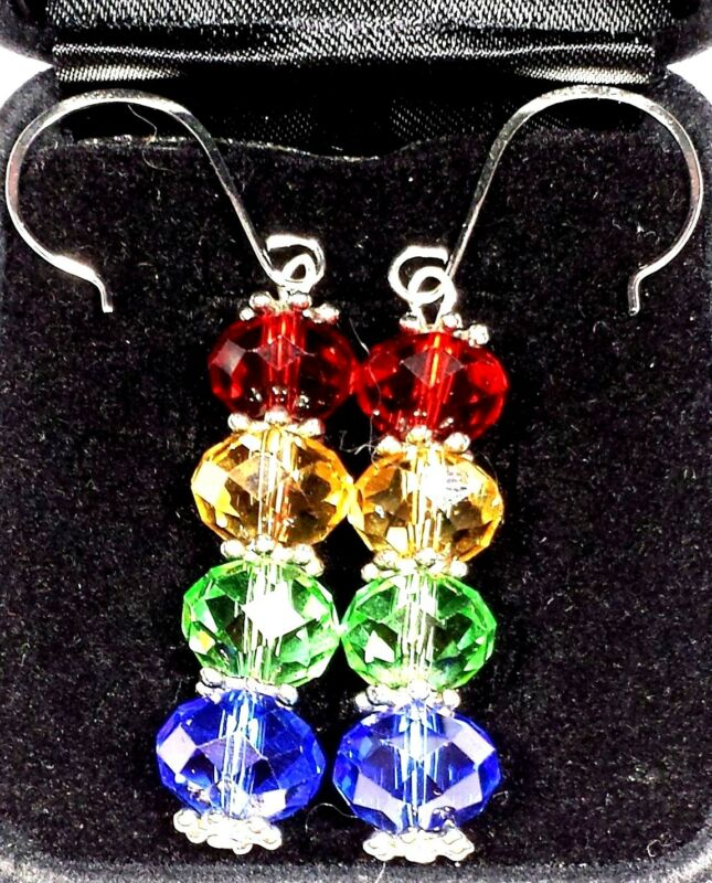 Jewelry Earrings Silver Plate Crystal Glass  Bead Red Green Blue  Christmas#378