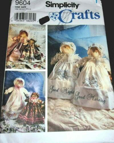 Simplicity 9604 Pillowcase Angel Doll w/ Embroidered Dress Vtg Sewing Pattern FF