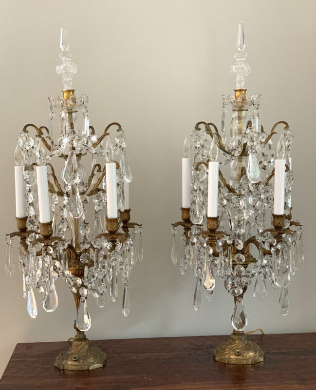 "Antique Exquisite Pair French Bronze Crystal Candelabra Lamp Girandoles 32"" Tall"