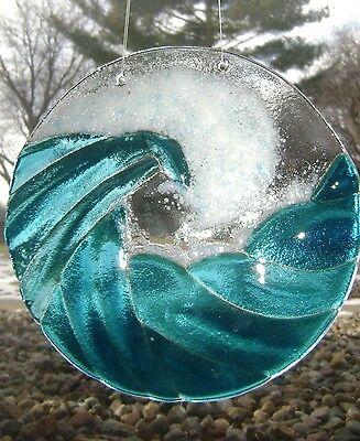 Turquoise Blue Ocean Waves Stained Glass Kiln Fired Handmade Window Panel Suncat