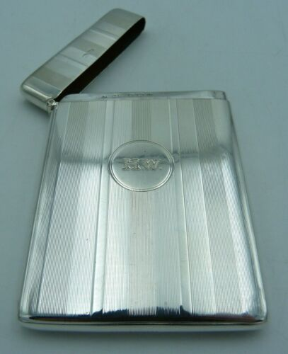 1920s Striped Solid Silver Business Appointment / Introductory Card Case / HW