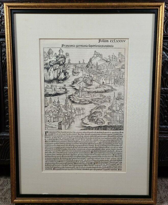 Nuremberg Chronicle Incunable Franconia Germany Woodcut Liber chronicarum 1493