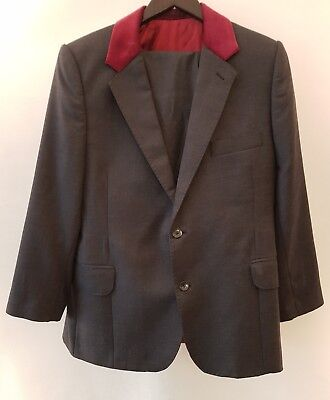 Mod Style Pinstripe Suit with Red Velvet Collar Shoulder Pads Size Small 34 S - Mod Suit Style
