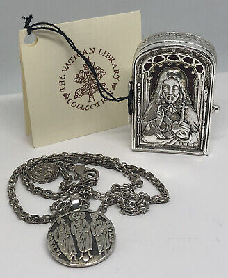 Dia De Los Muertos Rosary Style Necklace with Silver Plated Cross Chain