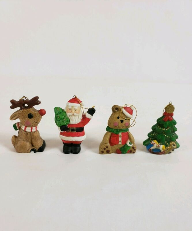 Porcelain Santa Xmas Christmas Ornaments 4 PieceSet Christmas Hand Painted Decor