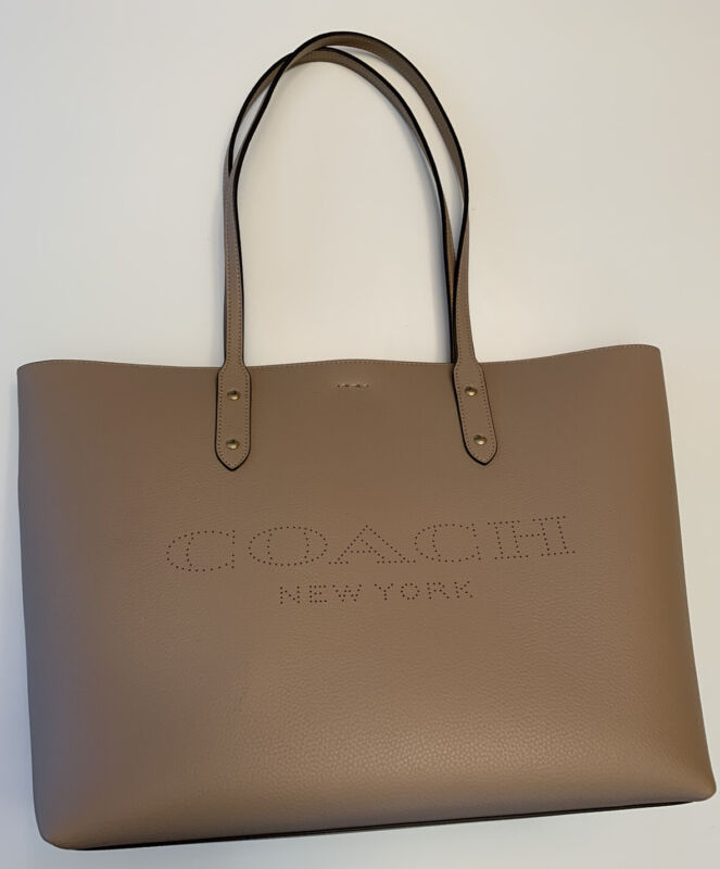 NWT Coach Town Tote With Coach Print 91168 Taupe/Poppy