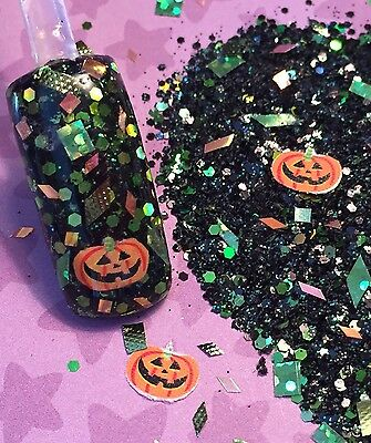 glitter mix acrylic gel nail Art  PUMPKIN DASH  Halloween Mix](Halloween Art Pumpkins)