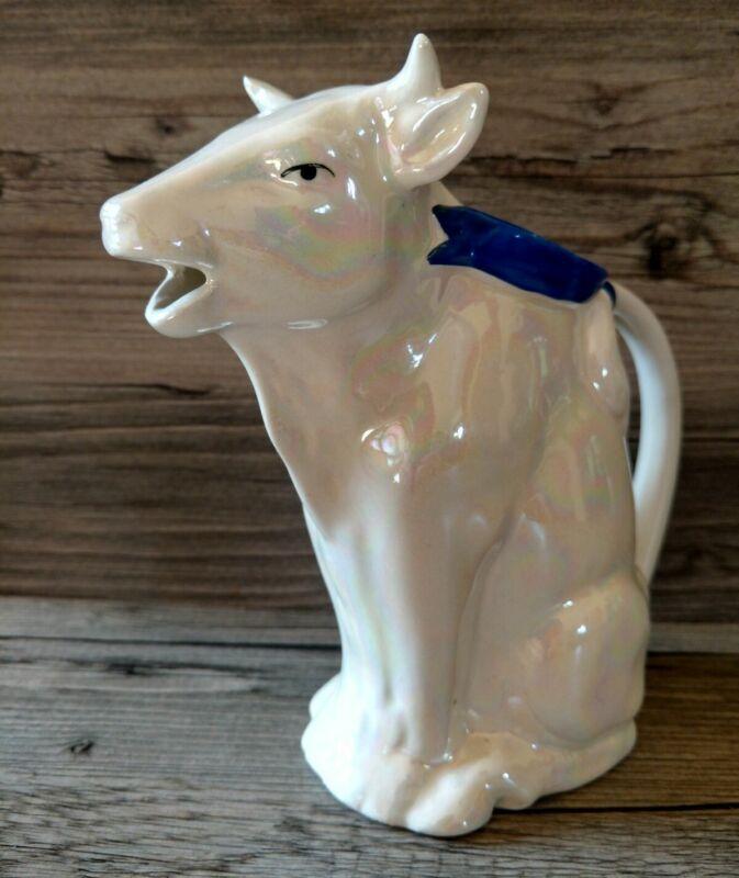 Antique Vintage Czechoslovakia Cobalt Blue Irridescent Opalescent  Cow  Creamer