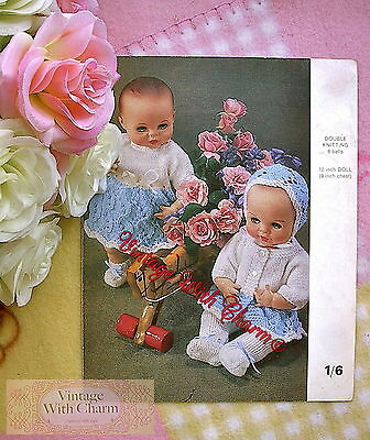 "Vintage Toy Knitting Pattern 12"" Dolls Dress, Jacket, Bonnet, Bootees etc."