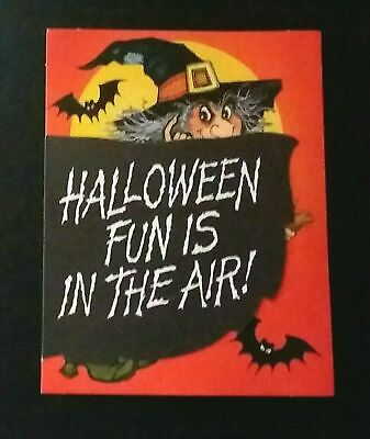 Vintage *UNUSED* Halloween Invitation: Flying Witch, Moon, Bats *Hallmark*