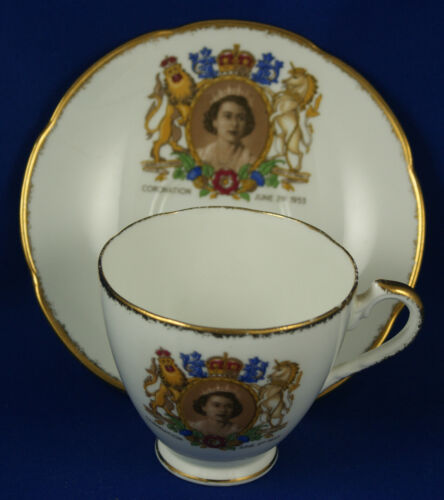 Adderley Bone China Queen Elizabeth Coronation 1953 Tea Cup and Saucer