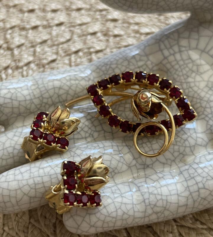Vintage Jewelry Set Brooch Earrings RED RUBY  Rhinestones With Roses