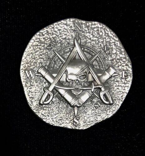 "Piece of Eight Pirate Challenge coin Freemason Masonic, 1.75"", Antique silver"