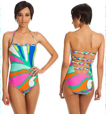 Trina Turk Tropicalia Multi Print Bandeau Strappy Back One Piece Swimsuit