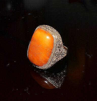Chinese Butterscotch Amber Bead Gilt Silver Ring Old Size 7-1/2 Adjustable