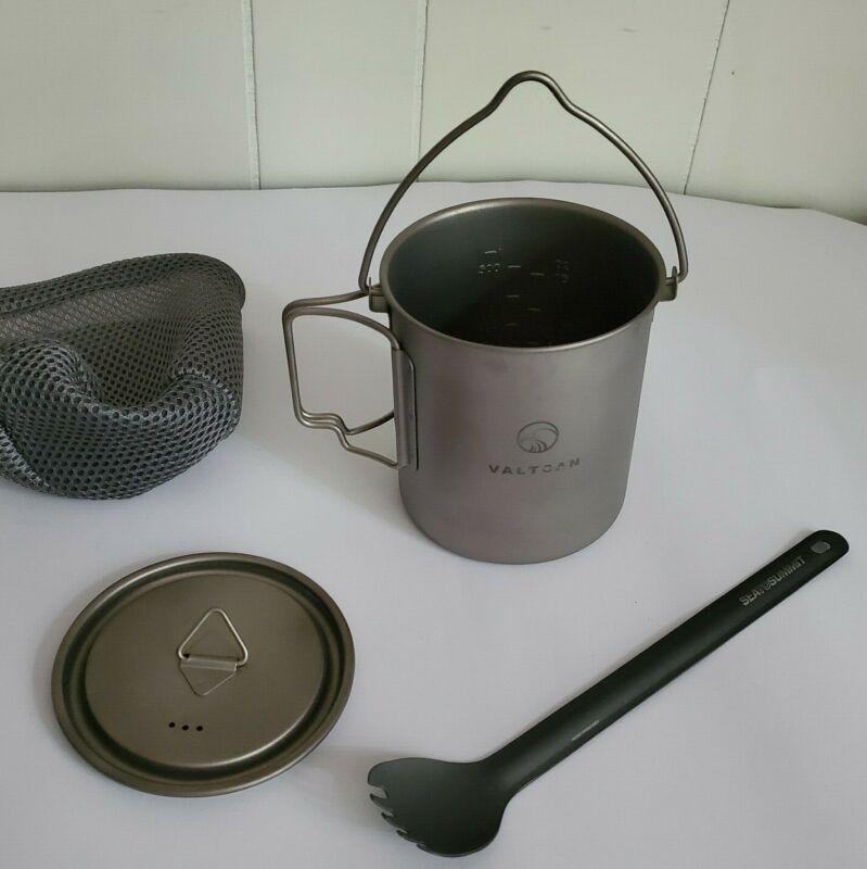valtcan titanium camping pot PLUS sea to summit spork ultralight cooking cup pan