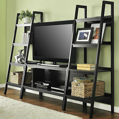 Ladder TV Stand and Bookcase Open Shelves Set, Black Oak Entertainment Center ()