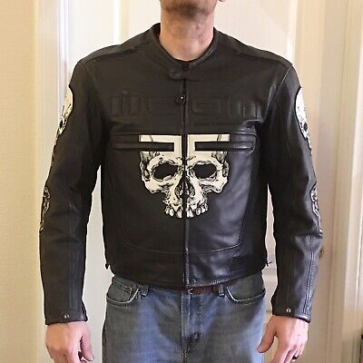 WITH ARMOR - ICON SKULL MOTORCYCLE LEATHER JACKET (LARGE)