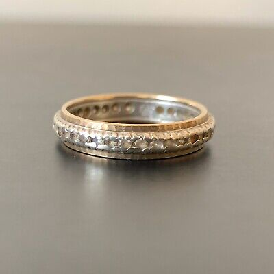 Vintage Antique 9ct Gold 2.95g Hallmarked Full Eternity Ring Spinel Size 0