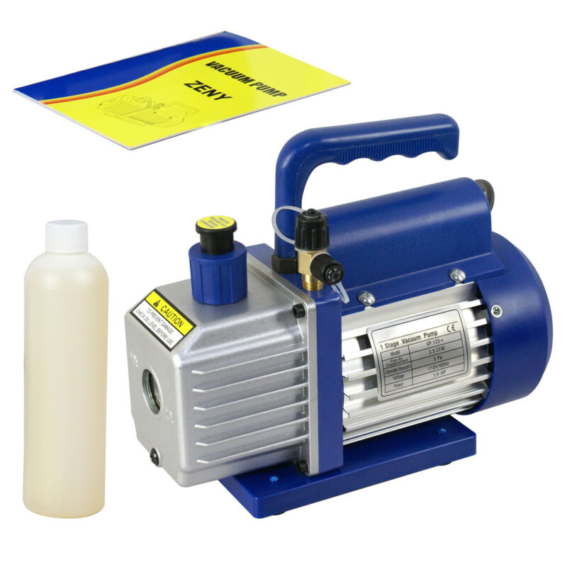3,5 CFM Rotary Vane Vacuum Pump 1/4HP HVAC R134a Air Refrigerant Low Noise