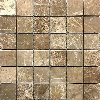 Emperador Light Marble 2x2 Polished Mosaic Tile Backsplash Floor and Wall