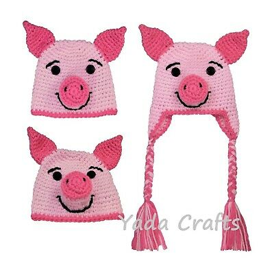 Crochet newborn pig hat newborn photo prop pink pig hat outfit halloween costume](Newborn Pig Halloween Costume)