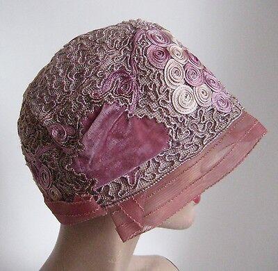 vtg 1920S RUBEE Cloche stunning silk velvet net mauve pink spring Hat