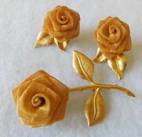 "Demi Brooch Pin Stem Flower 2.5"" & Pair Earrings Gold Tone w/Mesh Type Flower"