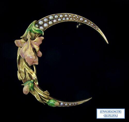 """Antique 1890s Art Nouveau 14k Seed Pearl & Enamel Crescent Pin*1.5"""" Wide 9.6GRM*"""