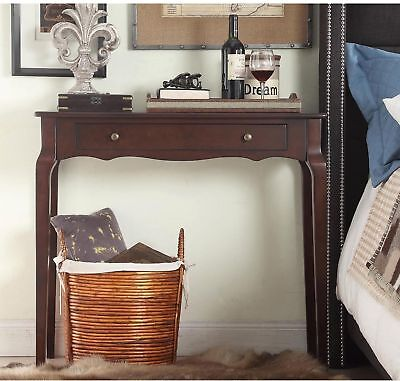 Curved End Console - Small Table Console Curved Wood Accent Entryway Vanity Nightstand Side End Brown