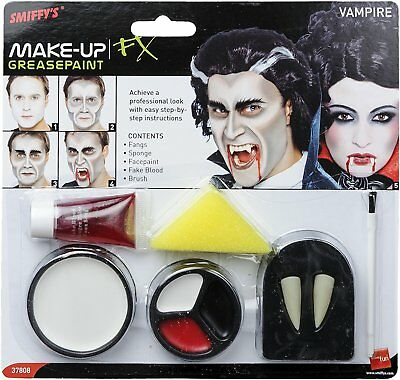 Vampire Make Up Kit Set Dracula Halloween Fancy Dress Face Paint Smiffys - Halloween Dracula Face Painting