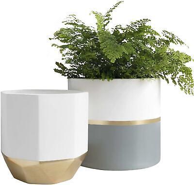"Large White Ceramic Plant Flower Pots - Garden Planters 10 + 8.1 "", Gold & Gray"