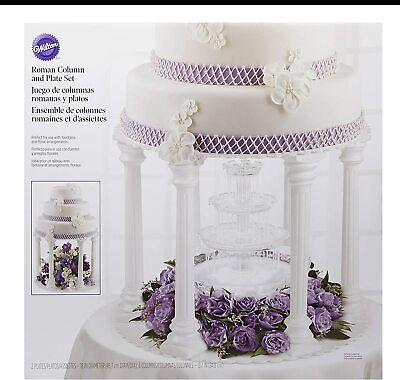 Wilton Wedding Cake Stand Roman Column Plate Set White 8 Piece